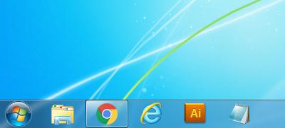 Windows7 タスクバーのアイコンのサイズが通常の場合