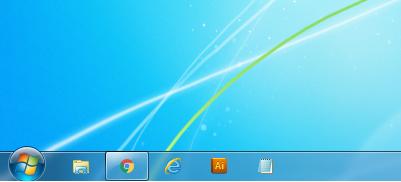 Windows7 タスクバーのアイコンのサイズを小さくした場合