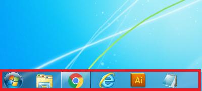 Windows7 タスクバーの幅が通常の場合