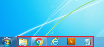 Windows7 タスクバーのアイコンが正常の大きさの場合