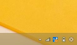 Windows8/8.1 タスクバーの通知領域の時計を非表示にしている状態