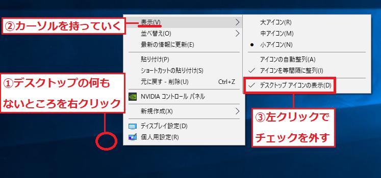 「①デスクトップの何もないところ」で右クリック→「②表示」にカーソルを持っていく→「③デスクトップアイコンの表示」にあるチェックを左クリックで外します。
