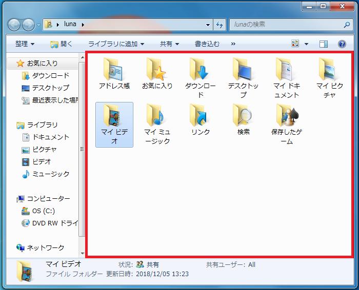 ②ユーザーのファイルを開いたときの状態