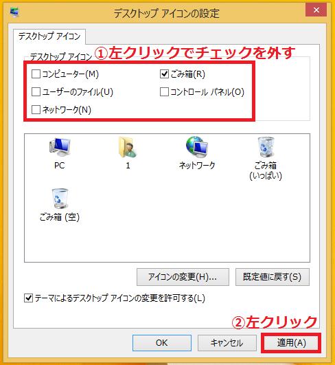 デスクトップに表示させない「①アイコン」を左クリックでチェックを外す→「②適用」ボタンを左クリックします。