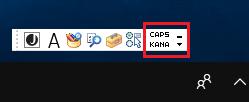 Windows10 デスクトップに言語バーが表示されている場合は、「CAPS」や「KANA」などの文字が表示されている
