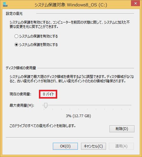 「現在の使用量」が「0」バイトになったことを確認したら完了です!