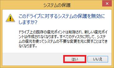 「このドライブに対するシステムの保護を無効にしますか?」とメッセージ化表示されるので、「はい」を左クリックします。
