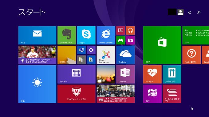 モダンUIとは、デスクトップではなくWindows8/8.1から搭載された下図のことをいいます。
