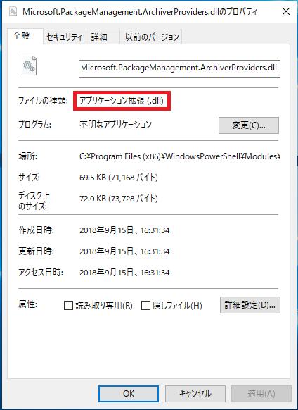 代表的なファイルで言うと「アプリケーション拡張(.dll)」があり、このファイルはアプリケーションなどに関係しているファイルなので、通常触ることは無くダブルクリックでファイルを開こうとしても開けません。