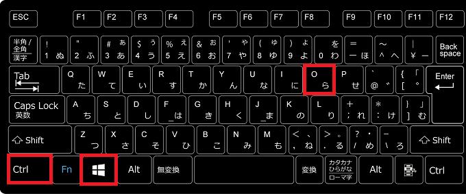 1.キーボードの「Ctrl」+「Windowsロゴ」を押しながら「O(オー)」を押します。
