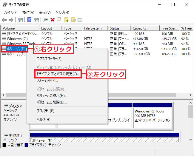 3.「①ボリューム(E:)」を右クリック→「②ドライブ文字とパスの変更」を左クリックします。