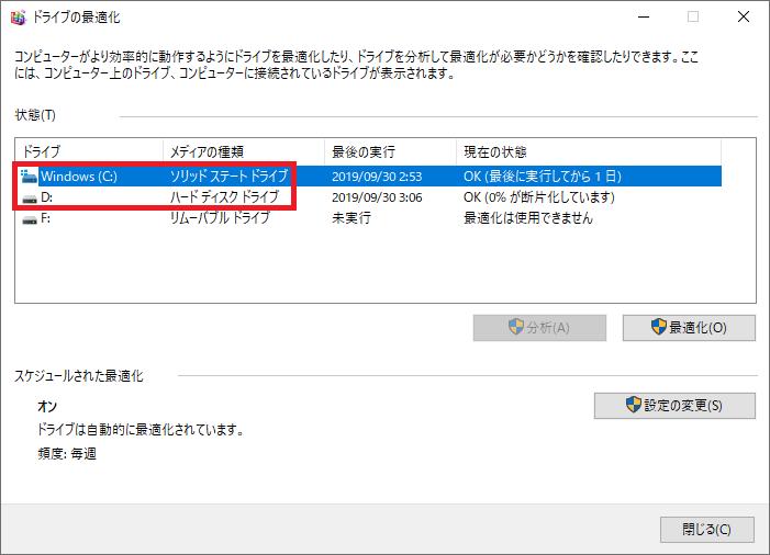 ここではCドライブがSSD、DドライブがHDDであることが確認できます。
