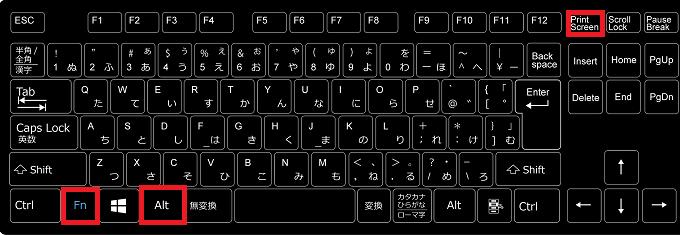 機種によってはノートPCでも「Alt」+「PrintScreen」でクリップボードにコピーする事は出来ますが、出来ない場合は「Fn」+「Alt」を押しながら「PrintScreen」を押します。