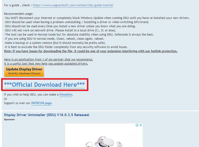 青文字の「***Official Download Here***」をクリックします。