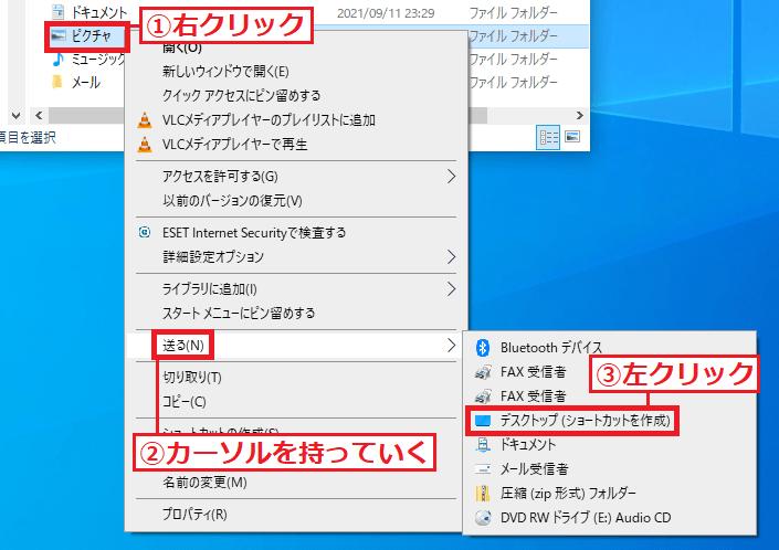 2.「①ピクチャー」を右クリック→「②送る」にカーソルを持っていく→「③デスクトップ(ショートカットを作成)」を左クリックします。