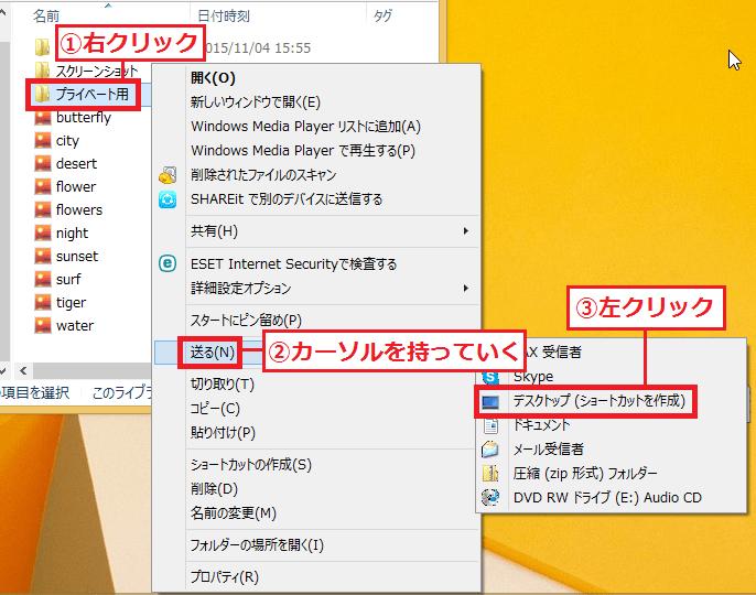 1.ショートカットを作成したい「①フォルダー」を右クリック→「②送る」にカーソルを持っていく→「③デスクトップ(ショートカットを作成)」を左クリックします。